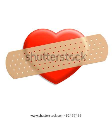 Plaster on heart. Vector. - stock vector