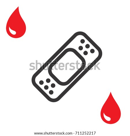 Plaster Band Aid Icon Medical Patch Stock Vector 711252217