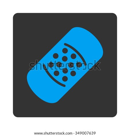 Plaster vector icon. Style is flat rounded square button, blue and gray colors, white background.