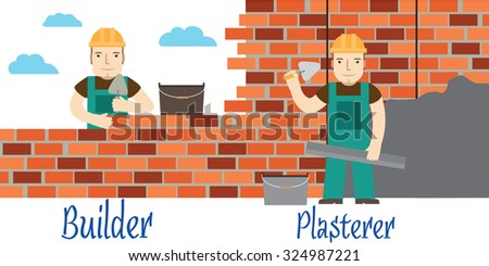 Plasterer and masons at work. Vector. - stock vector