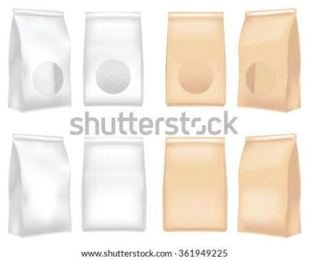 Plastic and paper bag - stock vector