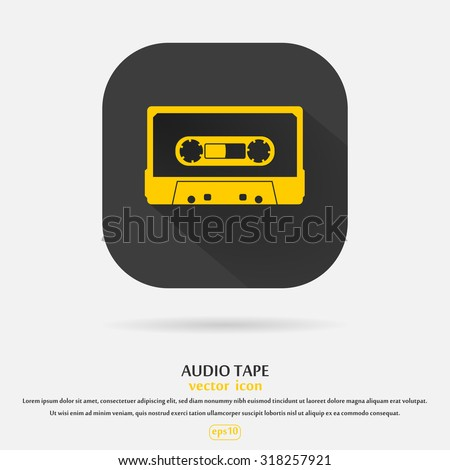 Plastic audio compact cassette tape - web icon. yellow color music tape. old technology concept, retro style, flat and shadow theme design, vector art image illustration, isolated on black background - stock vector