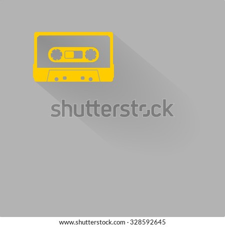 Plastic audio compact cassette tape - web icon. yellow color music tape. old technology concept, retro style, flat and shadow theme design, vector art image illustration, isolated on gray background - stock vector