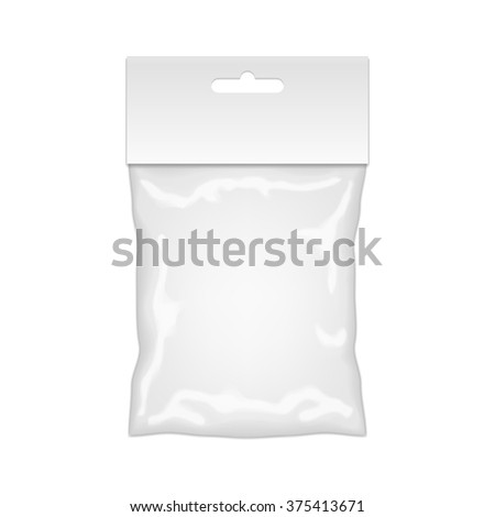 Plastic Bag Mockup Ready For Your Design. Blank Packaging Template With Hang Slot. Isolated On White Background. Vector. - stock vector