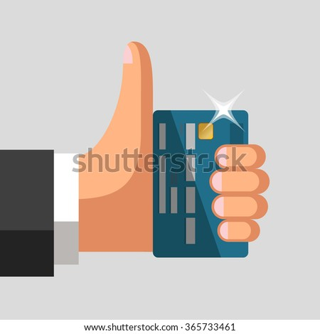 Plastic bank cards in hand of businessman. Thumb up gesture. Profitable card concept - stock vector