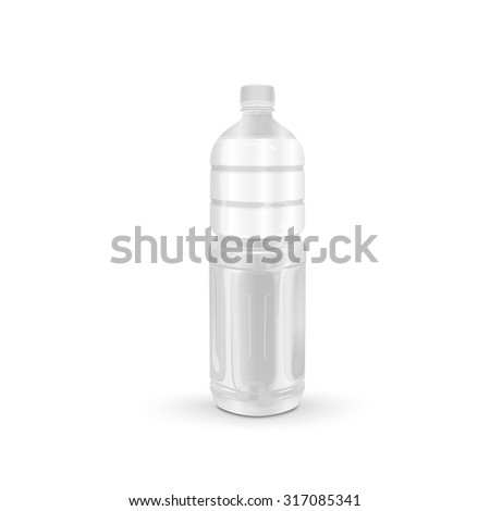 plastic beverage bottle with blank label isolated on white background - stock vector