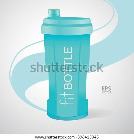 Plastic bottle, fitness bottle, fit, diet, water bottle - stock vector