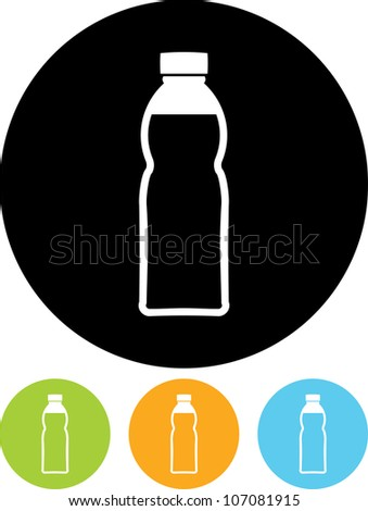 Plastic bottle with drink - Vector icon isolated - stock vector
