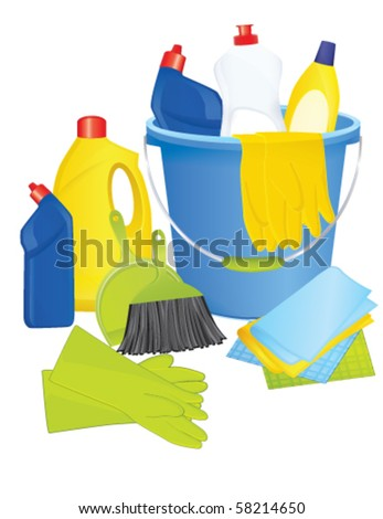 Plastic bucket with cleaning supplies, vector - stock vector