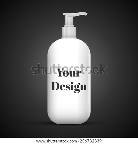 Plastic Clean White Bottle With Dispenser Pump. Shower Gel, Liquid Soap, Lotion, Cream, Shampoo, Bath Foam. Ready For Your Design. Illustration Isolated On Black Background. - stock vector