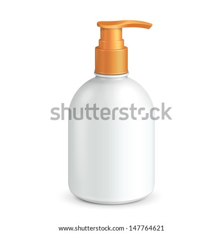 Plastic Clean White Bottle With Yellow Dispenser Pump. Shower Gel, Liquid Soap, Lotion, Cream, Shampoo, Bath Foam. Ready For Your Design. Illustration Isolated On White Background. Vector EPS10  - stock vector