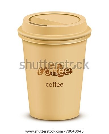 Plastic coffee cup with lid - stock vector
