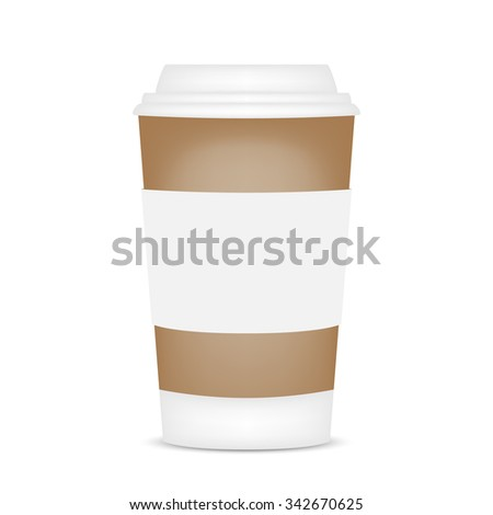 Plastic coffee cup with shadow, vector illustration - stock vector