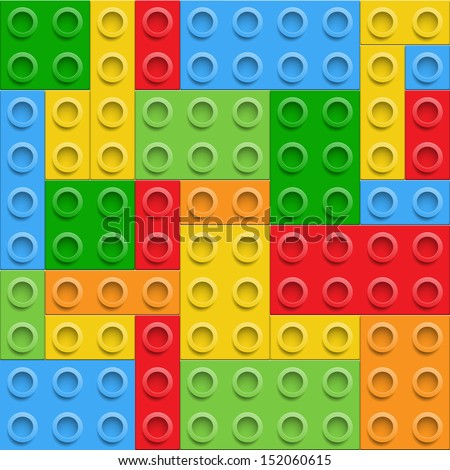 Plastic construction  blocks seamless background. Vector illustration. EPS10. - stock vector