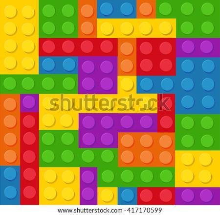 Plastic construction blocks vector illustration - stock vector