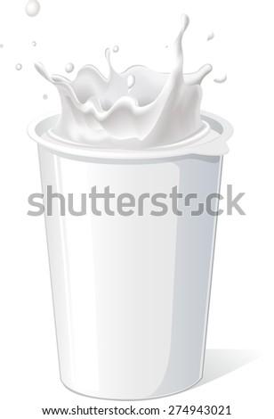 plastic container for yogurt with splash - vector - stock vector