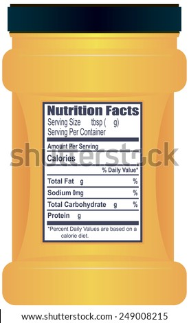Plastic container with information about the food on the sticker. Vector illustration. - stock vector