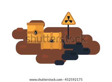 Plastic containers and garbage lying on chemical contaminated nuclear waste. Vector illustration nuclear waste toxic pollution. Radioactive danger nuclear waste chemical industrial storage ecology. - stock vector