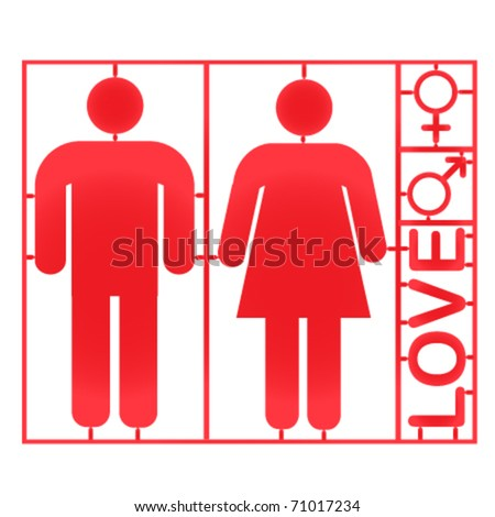 Plastic couple and gender symbols - vector - stock vector