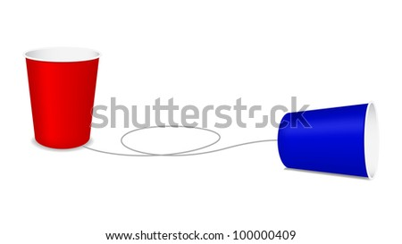 Plastic cup phone - stock vector