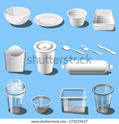 Plastic dishware or disposable tableware vector icons of soup bowls and plates spoon knife  sc 1 st  Shutterstock & Plastic Dishware Disposable Tableware Vector Icons Stock Vector ...