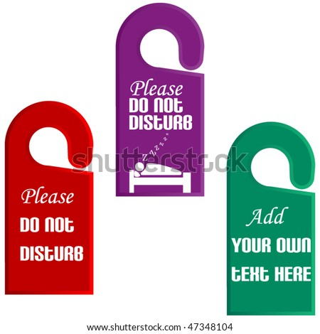 Hotel Do Not Disturb Door Hanger Stock Vector   Shutterstock