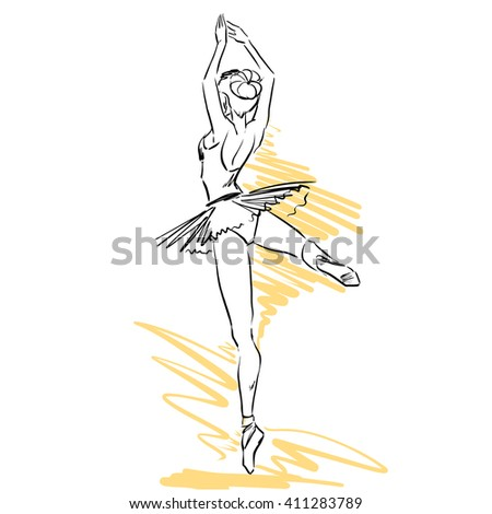 Plastic elegant woman dancer shows classical ballet elements. She wears traditional tutu and pointes. Vector hand drawing by lines. Isolated on white background - stock vector
