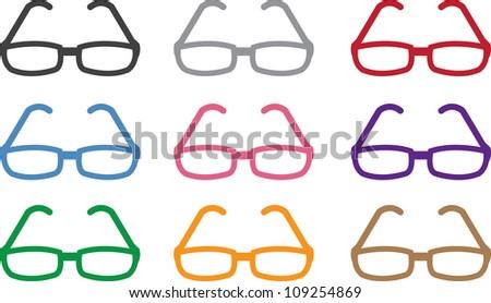 Plastic framed glasses in various colors - stock vector