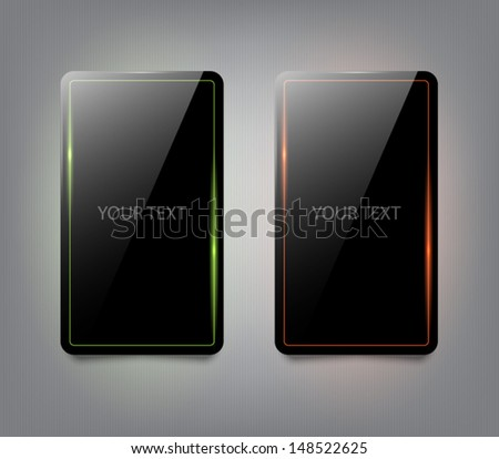 Plastic glossy black banners with glowing shiny lines for websites or business design. Clean and modern style - stock vector