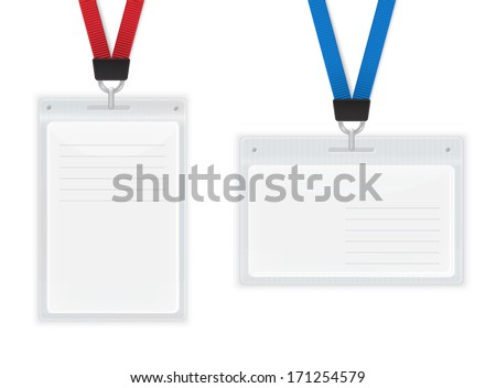 Plastic ID Badges. Isolated on White Vector illustration.