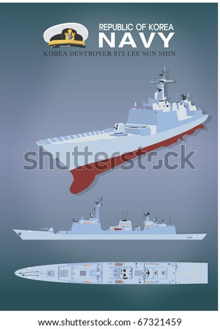 Plastic Model of the Warship - stock vector