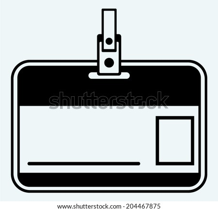 Plastic Name Tag. Image isolated on blue background - stock vector