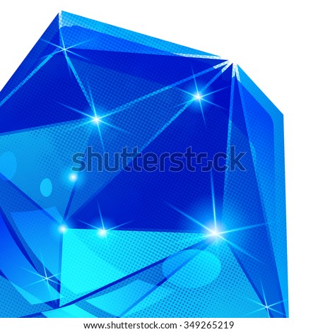 Plastic pixilated backdrop with glossy 3d cybernetic object, reflective fond with blue complex figure synthetic dot element. - stock vector