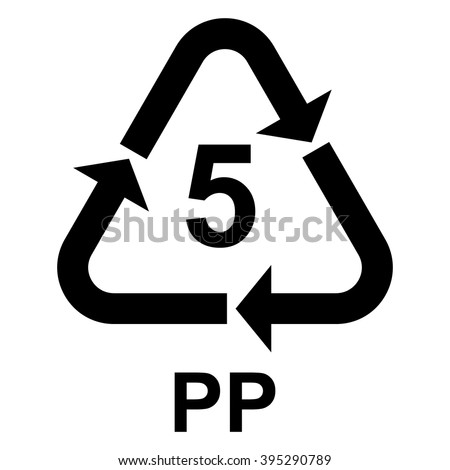 Plastic recycling symbol PP 5 , Plastic recycling code PP 5 , vector illustration  - stock vector