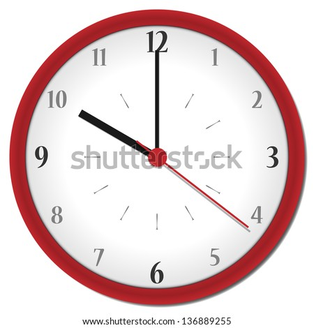 plastic shadowed red clock with arabic numbers