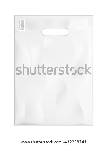 Plastic shopping bag package template. Vector illustration.