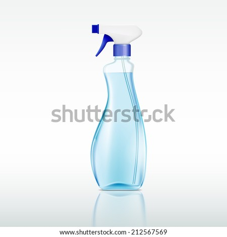 plastic spray bottle with cleaning liquid - stock vector
