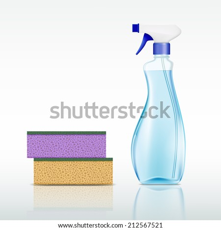 plastic spray bottle with cleaning liquid and sponge - stock vector