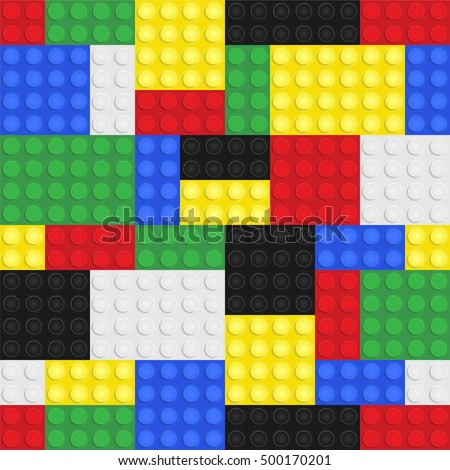Plastic toy building blocks background. Repeating tileable vector illustration that repeats left, right, up and down
