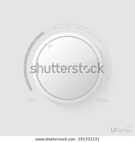 Plastic vector volume music control with a scale from low to high - stock vector