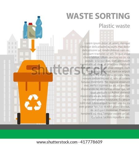Plastic waste sorting flat concept.  Vector illustration of plastic waste. Plastic waste recycling categories and garbage disposal. Plastic waste types sorting management  - stock vector