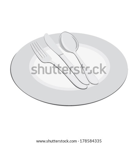 Plate and cutlery - fork, knife, spoon   - stock vector