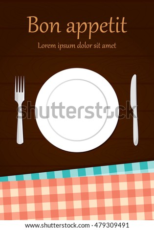 Plate and cutlery on a wooden table with tablecloths. Vector illustration flat design
