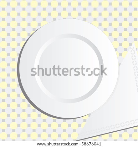 Plate and napkin vector - stock vector