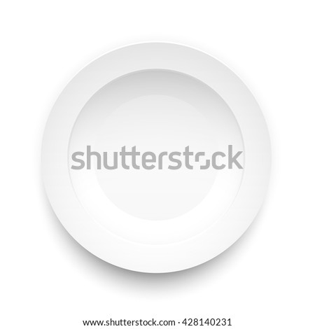 Plate circle on a white background, Vector illustration - stock vector