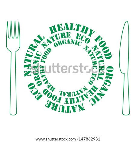 plate consisting of letters with a fork and knife on a white background .icon of healthy food.vector - stock vector