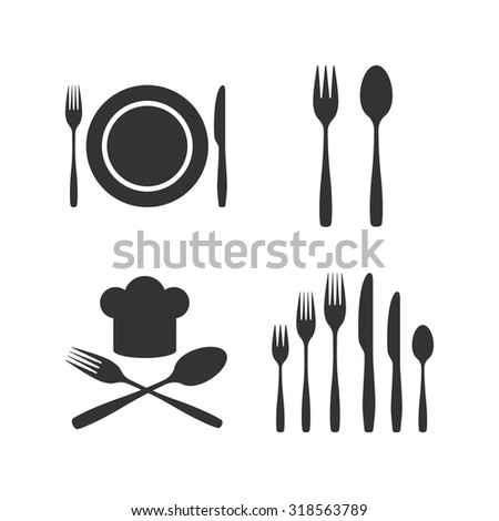 Plate dish with forks and knifes icons. Chief hat sign. Crosswise cutlery symbol. Dessert fork. Flat icons on white. Vector - stock vector