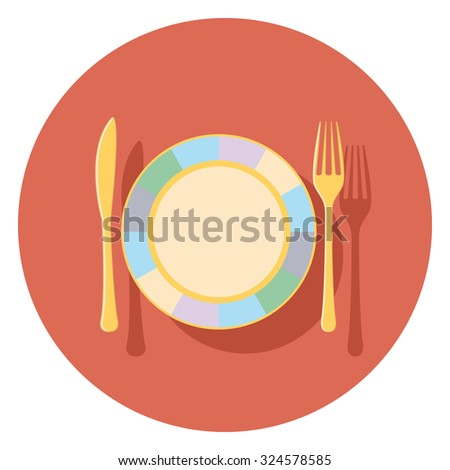 plate flat icon in circle - stock vector