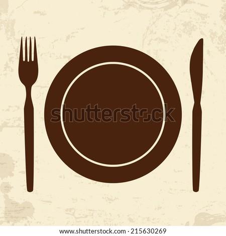 Plate,fork and knife on vintage grunge background, vector illustration - stock vector