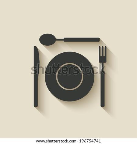 plate fork knife spoon icon - vector illustration. eps 10 - stock vector